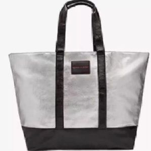 NWT $98 VS Weekender Tote Bling Silver Pink Huge